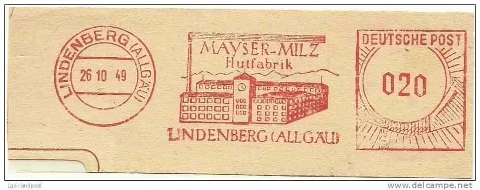 Germany Nice Cut Meter Mayser-Mitz Hutfabrik Pet Lindenberg 26-10-1949 - Textil