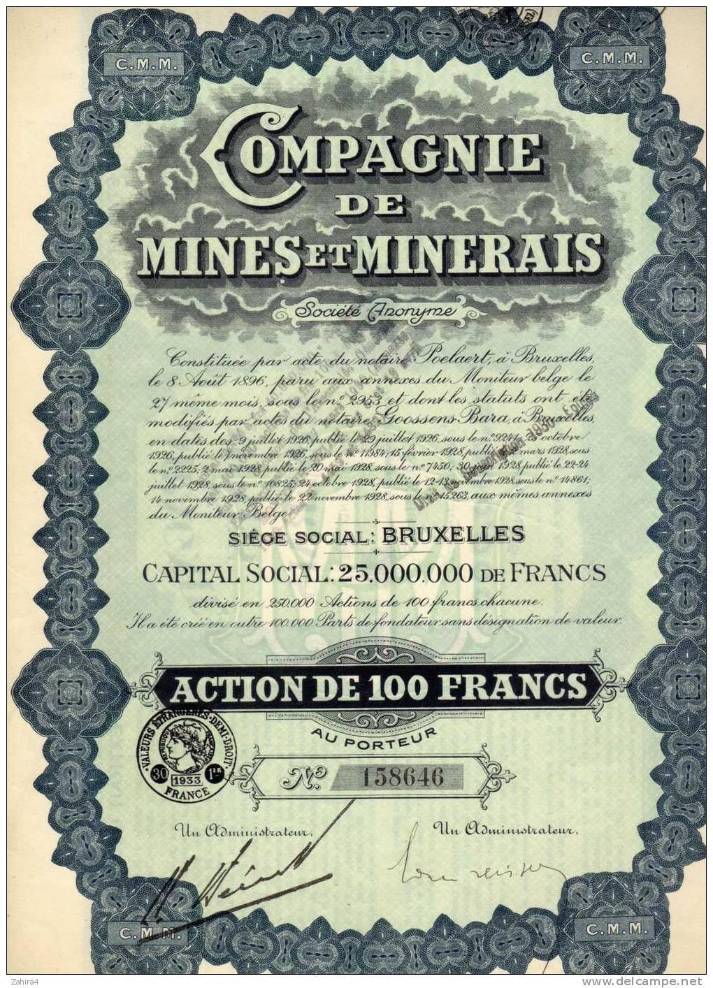 Compagnie De Mines Et Minerais  -  BRUXELLES - Actions & Titres
