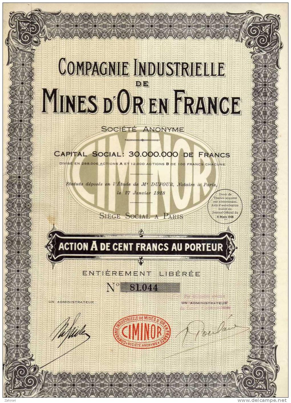 Compagnie Industrielle De Mines D'OR En France -  CIMINOR  -  Paris - Actions & Titres