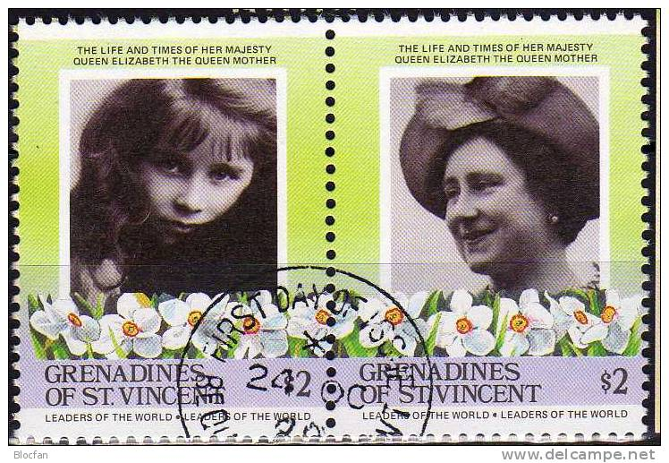 Kastl From Queen Mother Grenadinen Of St. Vincent 421/2+ Paar O 11€ As Girl, 85. Birthday With Cap - Stamps