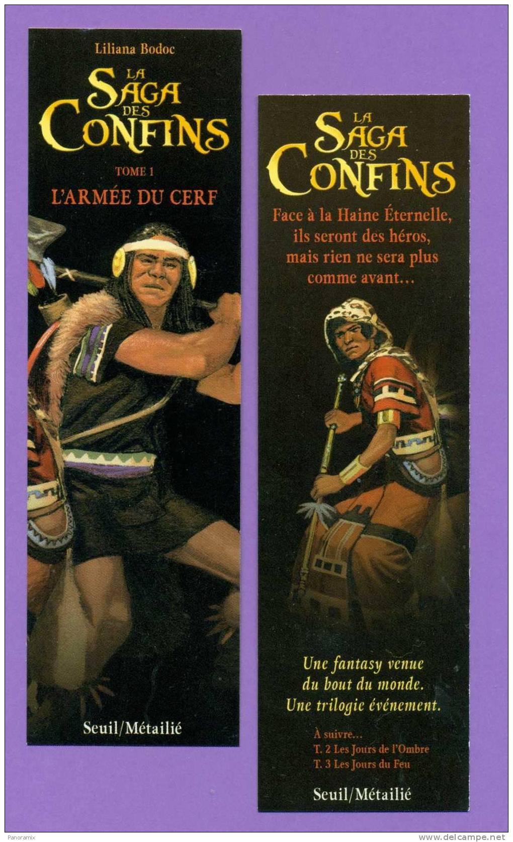 """Seuil   Liliana  Bodoc   """"  La  Saga  Des  Confins - 1 - L'armée  Du  Cerf  """"   5 X 17 Cm - Marque-Pages"""