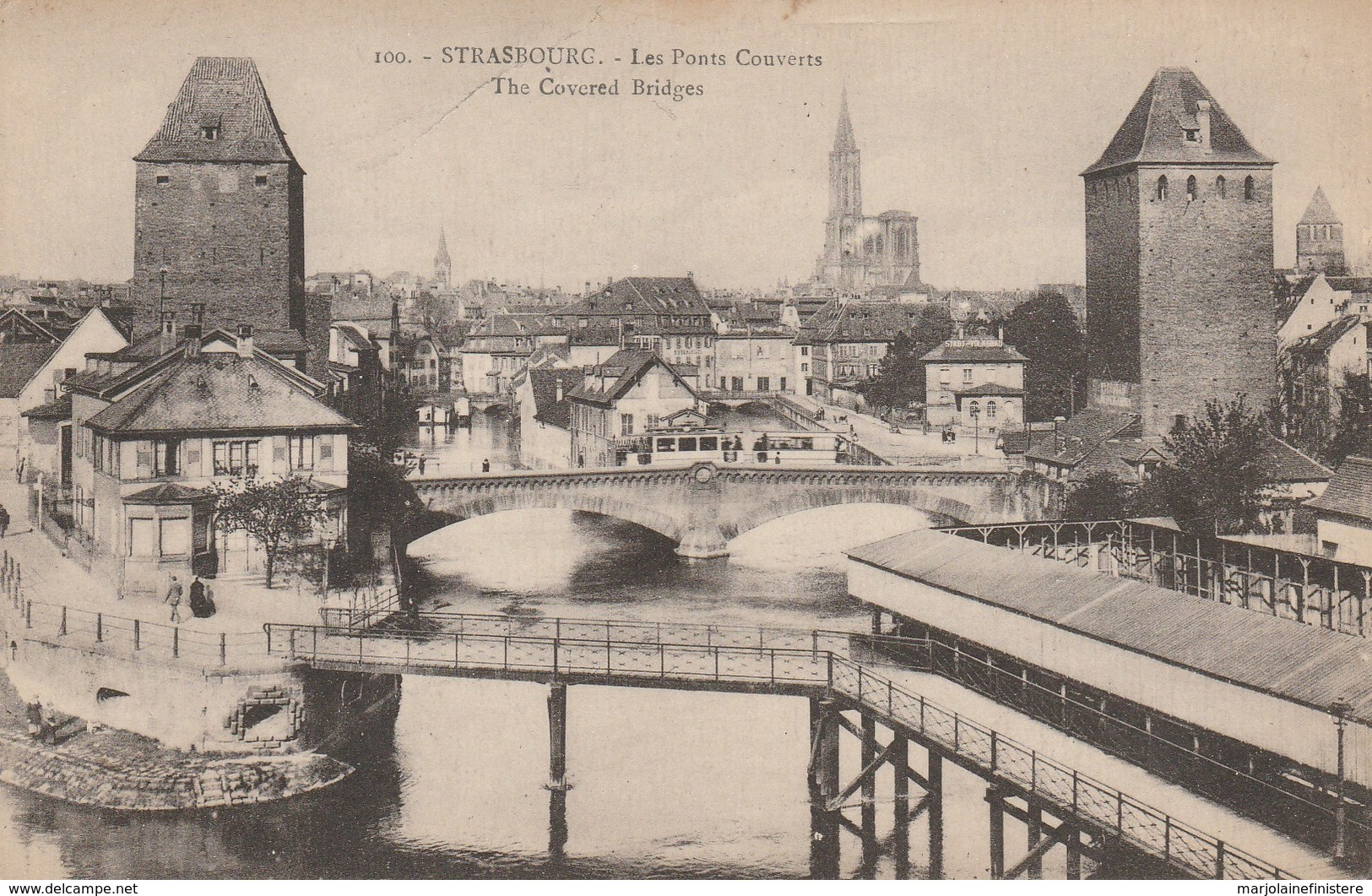 Dép. 67 - Strasbourg. - Les Ponts Couverts. Tramway. Ed. Ch Bergeret. N°100 - Strasbourg