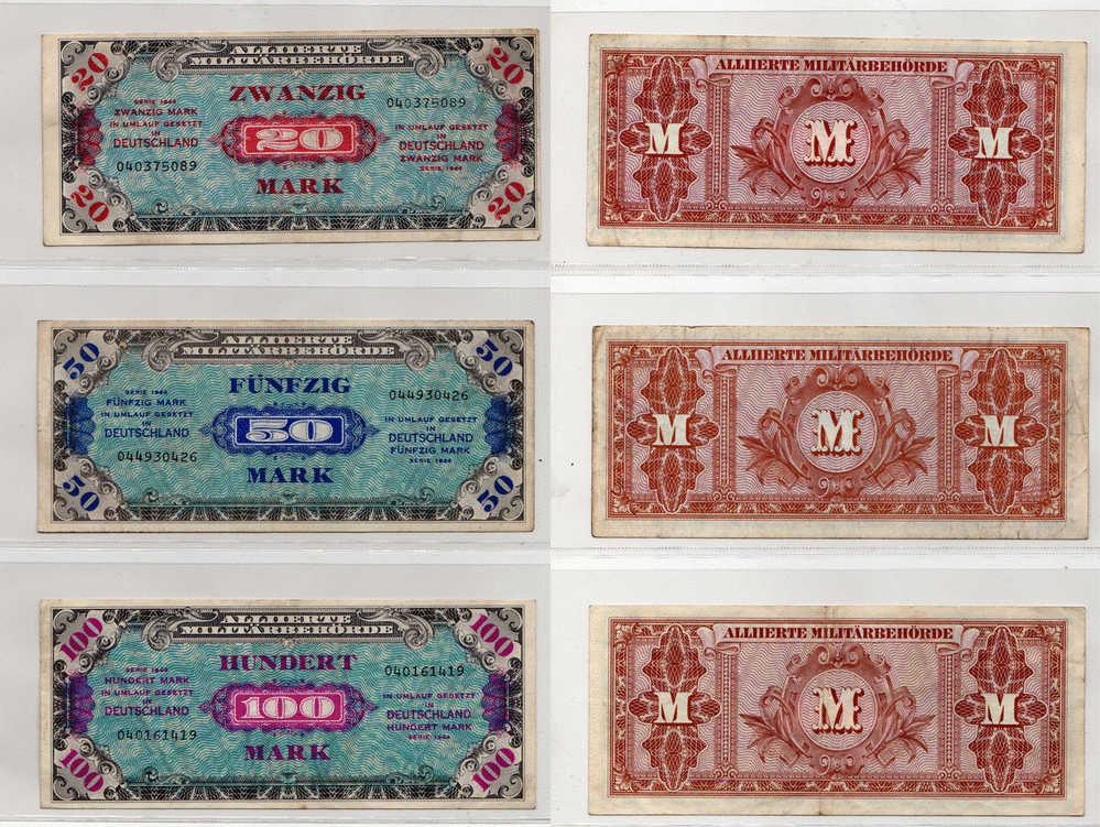 Collection De 6 Billets D´occupation Des Allies En Allemagne - [ 5] 1945-1949 : Occupation Des Alliés