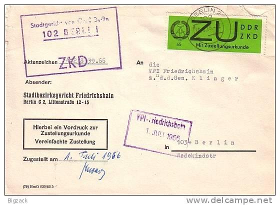 DDR Brief Zustellurkunde EF Minr.2 Berlin 30.6.66 - DDR
