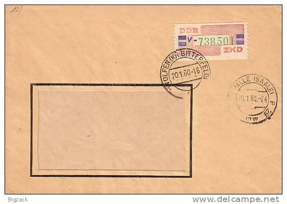 DDR Brief ZKD EF Minr.27 Wolfen 20.1.60 - Dienstpost