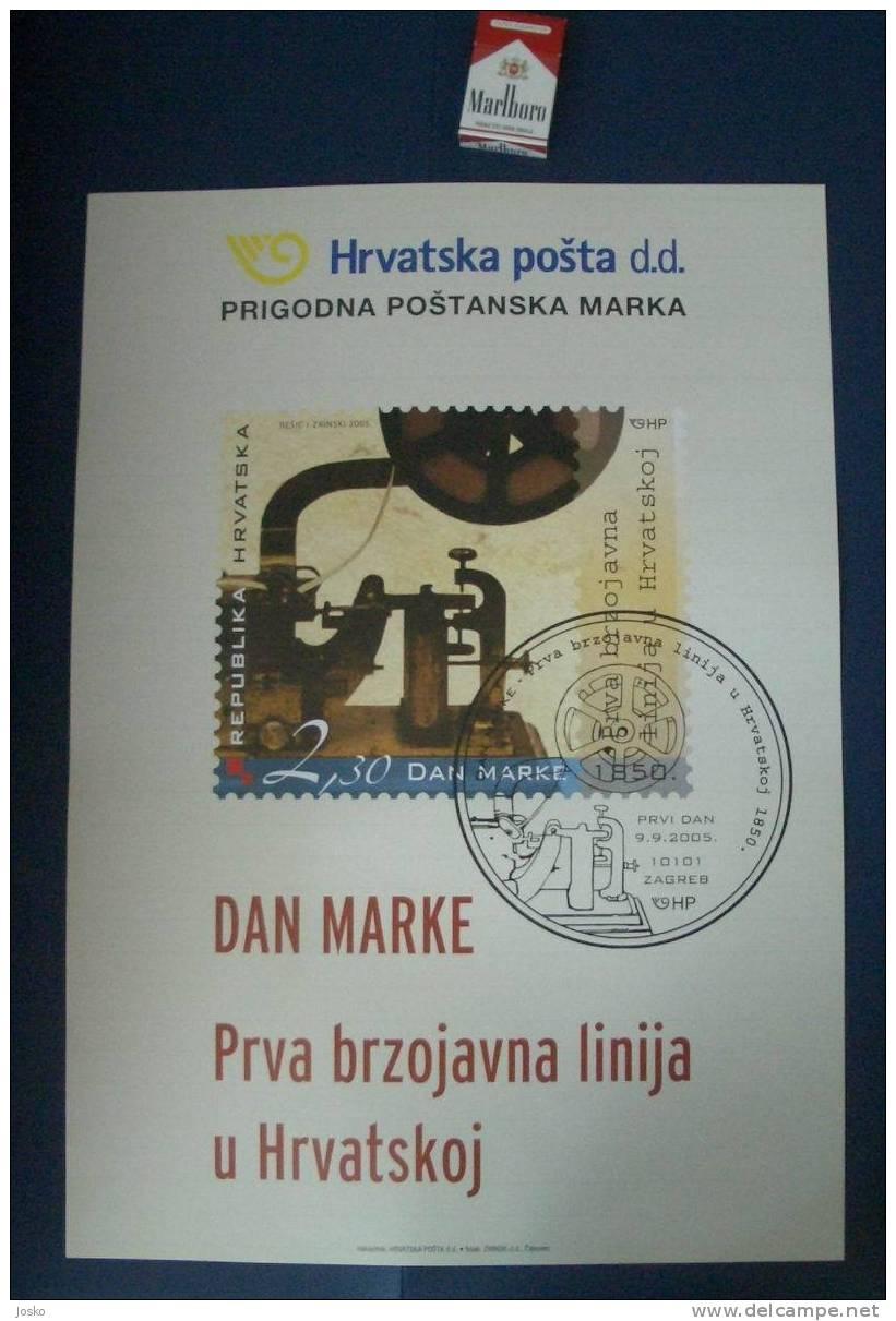 CROATIAN FIRST TELEGRAPH ( Croatia Poster ) Télégraphe Wire Telégrafo Telegraf Telegrafo Telegraaf Telegraph Set AFFICHE - Technical