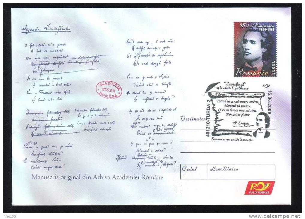 ROMANIA ENTIER POSTAL STATIONERY COVER 2005,PMK 2008 TURDA, Anniversary Mihai Eminescu Poet Ecrivains Writer. - Schrijvers