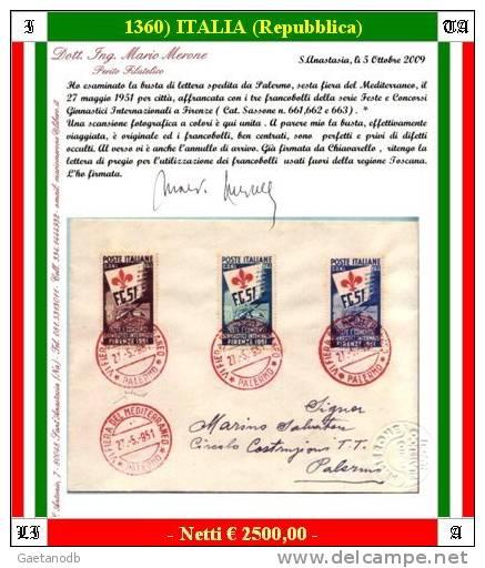 """Palermo 01360 - 1951: Serie """"Ginnici Di Firenze"""" Su Busta Viaggiata - Certificato Ing. M. Merone - 6. 1946-.. Repubblica"""