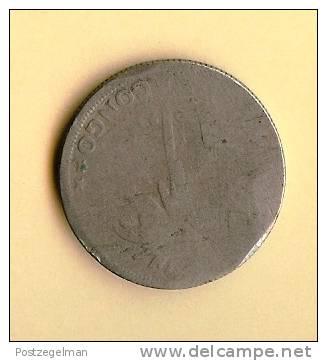 CONGO BELGE 1920-1929 1 Franc Km21 Backside Bad!!! - Congo (Belgian) & Ruanda-Urundi