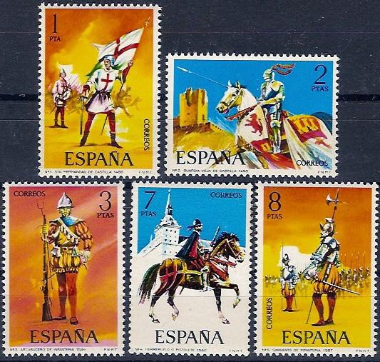 España 2139/2143 ** Uniformes. 1973 - 1931-Hoy: 2ª República - ... Juan Carlos I