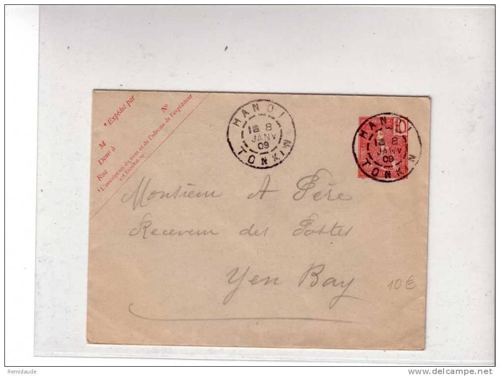 INDOCHINE - ENTIER POSTAL - TYPE GRASSET - 1909 - ENVELOPPE De HANOÏ Pour YEN BAY - Storia Postale