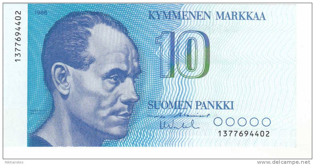 Finland 10 Markkaa 1986 P 113 UNC - Finlandia