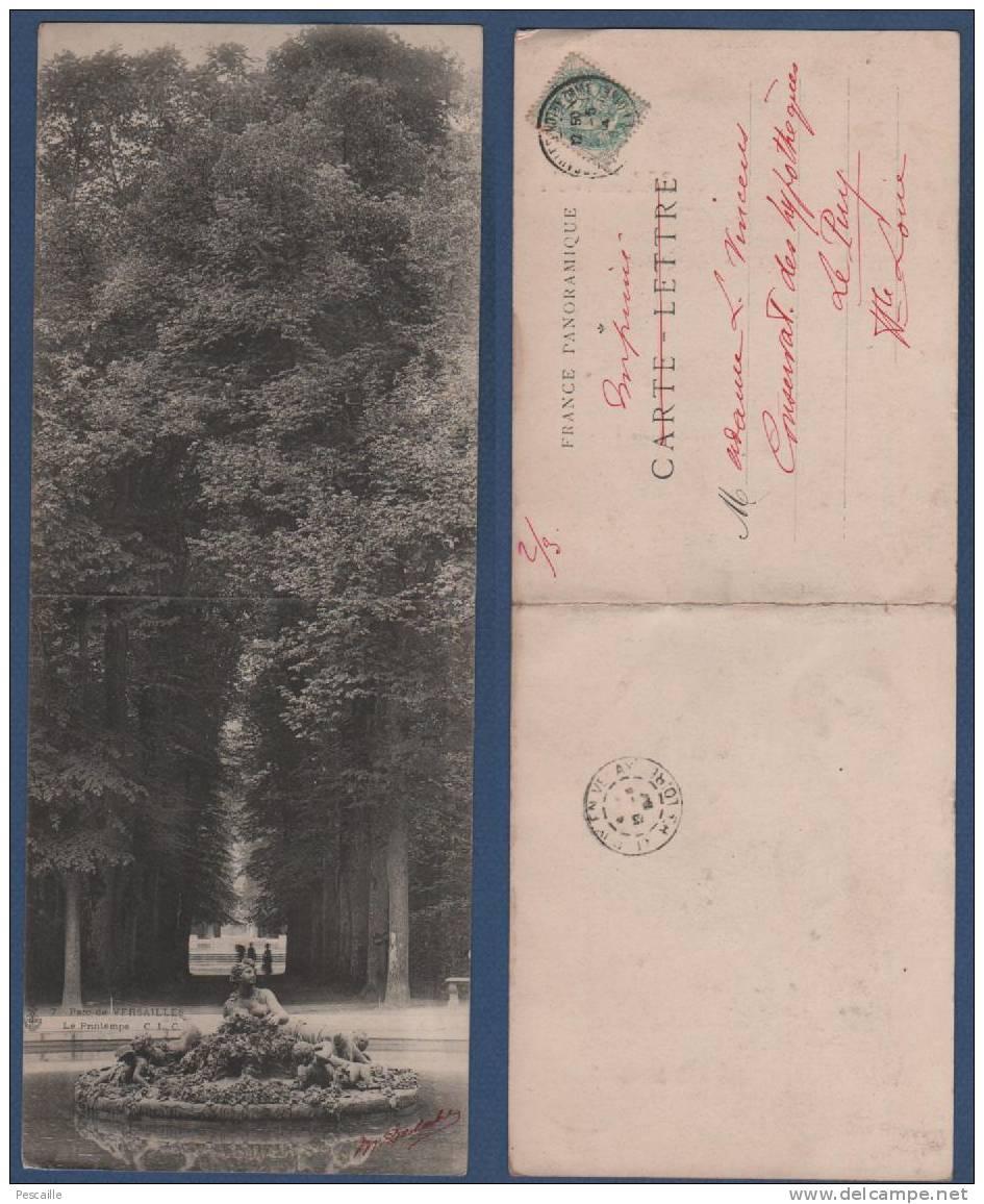 78 - CARTE PANORAMIQUE PARC DE VERSAILLES - LE PRINTEMPS - CLC N° 7 - 28 X 11 Cm - CIRCULEE EN 1904 ? - Versailles (Château)