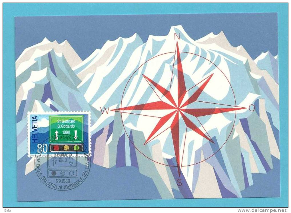 Schweiz 1980 Bern 5.9.80 Sonderpostmarke St. Gotthard, Michel Nr. 1186, Yvert 1116, Scott 693 - Maximumkarten (MC)