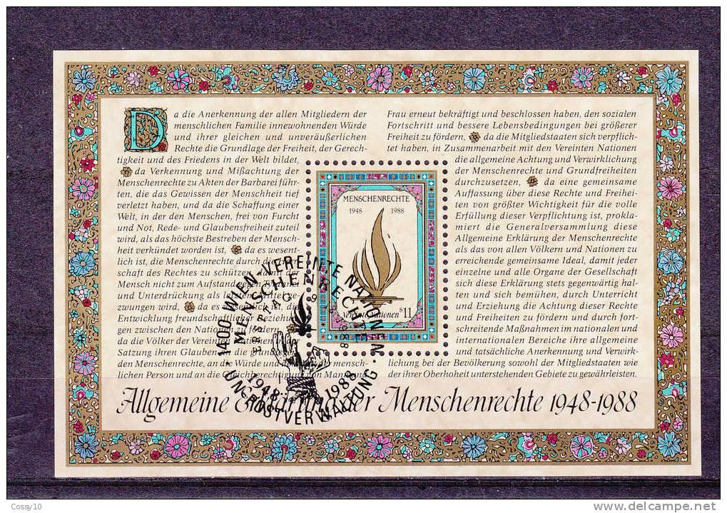 NATIONS  UNIES  VIENNE BLOC  1988  N° 4   OBLITERE    CATALOGUE YVERT - Centre International De Vienne