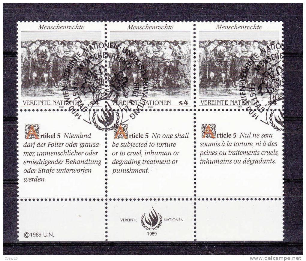 NATIONS  UNIES  VIENNE   1989  N° 96 à 98  OBLITERES    CATALOGUE YVERT - Centre International De Vienne