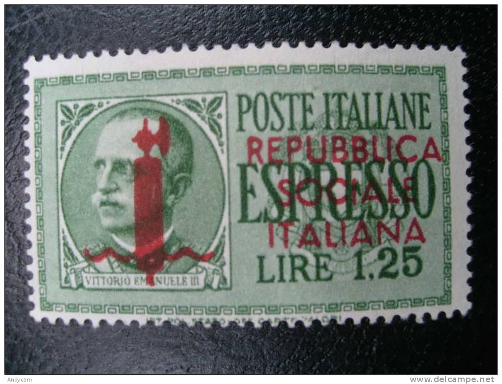 1944 ESPRESSO R.S.I. EFFIGIE VITTORIO EMANUELE 1,25 Lire NUOVO ** MNH - 4. 1944-45 Repubblica Sociale