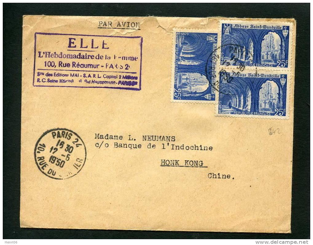 """=*= 842x3 Sur Lettre Abonnement """"ELLE"""" Paris>>>>Honk Kong Chine Par Avion 1950 =*= - Covers & Documents"""