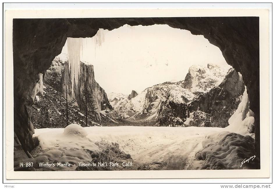 Real Photo Postcard, EKC Stamp Box, Winter´s Mantle, Yosemite Nat´l. Park, California - Yosemite