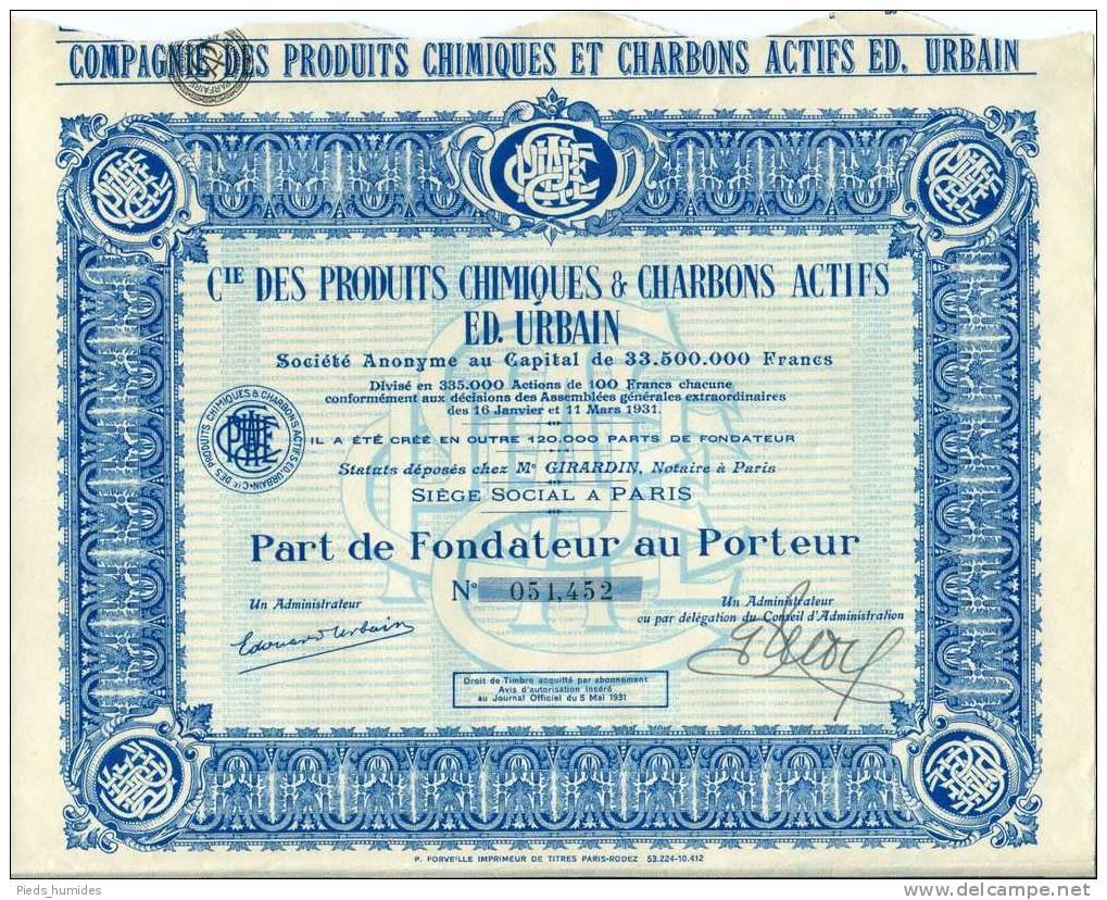 Cie Des Produits Actifs & Charbons Actifs ED. Urbain Part De Fondateur - Industrie