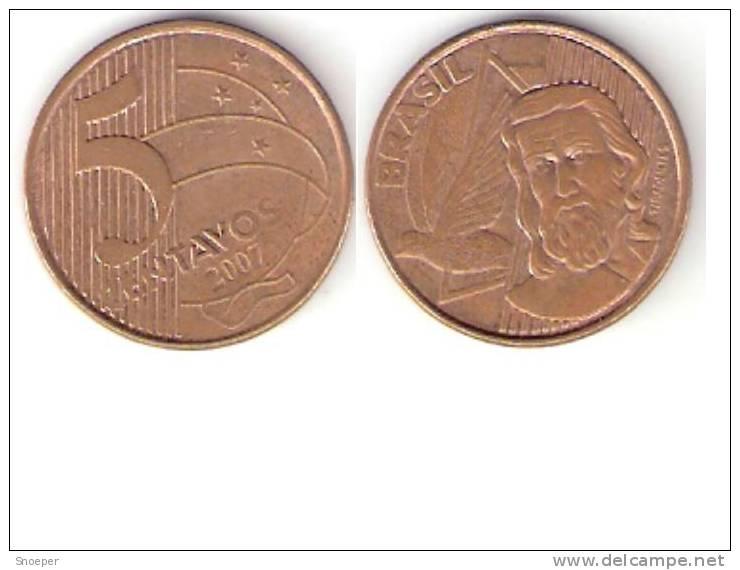 Brazil  5 Centavos 2007  Km 648   Xf+ * - Brésil