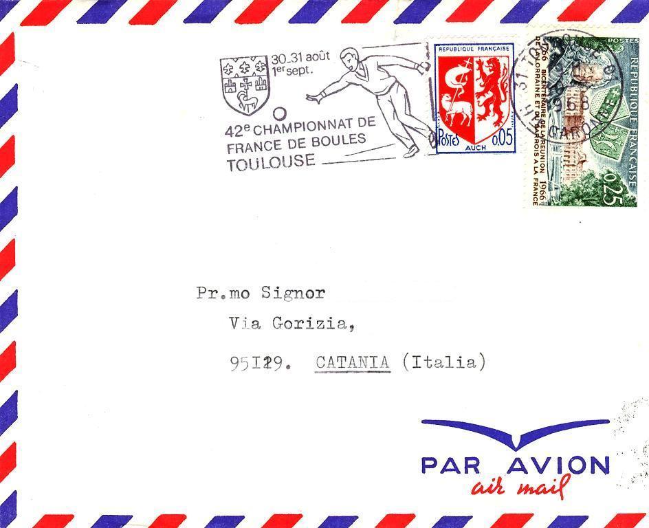 1966-Annullo  42 CHAMPIONNAT DE FRANCE DE BOULES TOULOUSE-CAMPIONATO BOCCE-TARGHETTA MECCANICA- - 1961-....