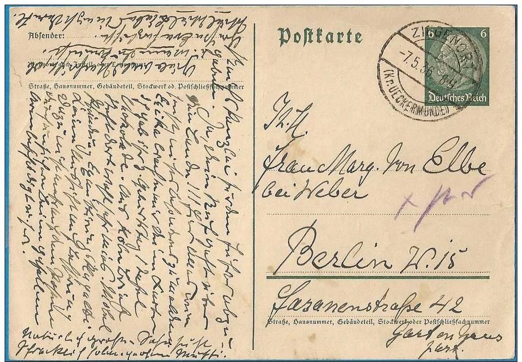 Briefkaart / Postkarte : 6 Pf Hindeburg / Von Ziegenort Nach Berlin 1936 - Briefe U. Dokumente