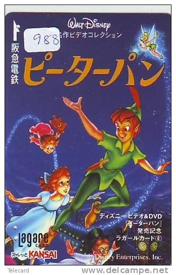 DISNEY Carte Prépayée Japon (988) DISNEY JAPAN * PREPAID CARD *  CINEMA *  PETER PAN - Disney