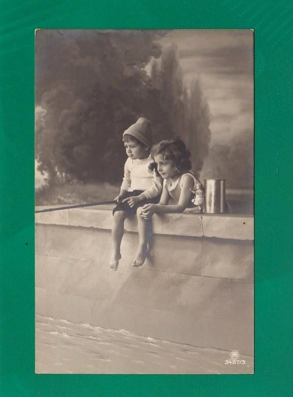 Enfant, Garçon Et Fillette, Canne à Pêche, CPA Bromure, Ed PRH 3487/3, Dos Divisé, écrit, Bon état - Enfants