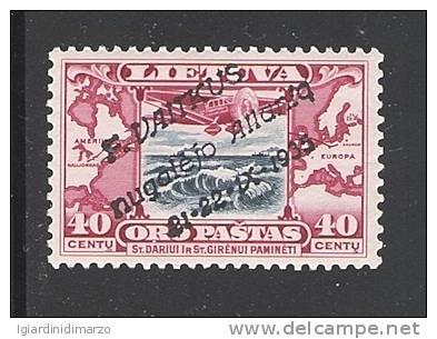 LITUANIA - 1936 - VALORE DA 40 C. Di P.A. NUOVO S.T.L. CON SOPRASTAMPA NOT GUARANTEE - IN OTTIME CONDIZIONI - Lithuania