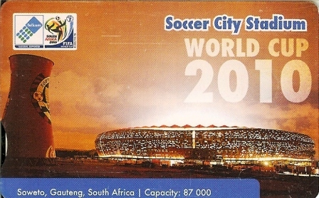 """SOUTH AFRICA Used Phonecard/ Gebruikte Telefoonkaart """"ALL 2010 SOCCERSTADIA """" - Sport"""