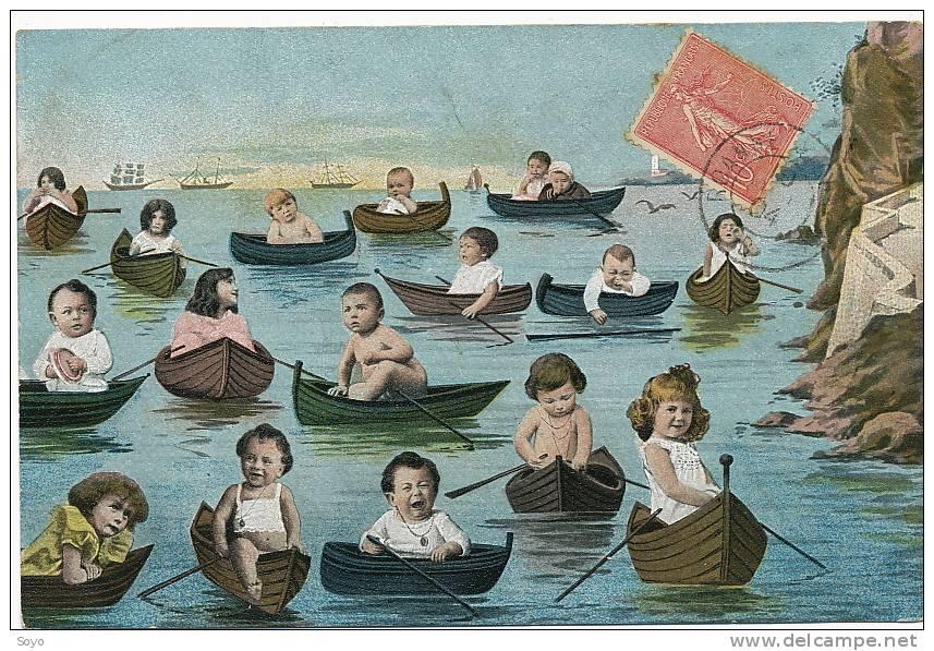 Aviron Multi Bébé Surrealisme Bébés Avec  Barques - Aviron