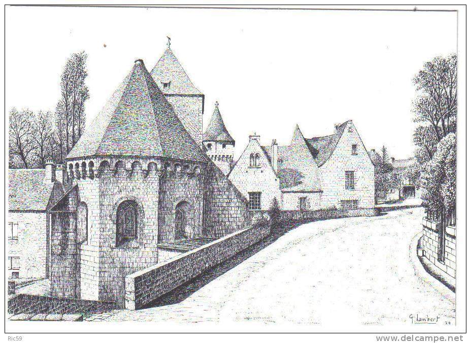 SAINT-GENIES .- L'église Et Le Château .- Dessin à La Plume De G. LAMBERT - France