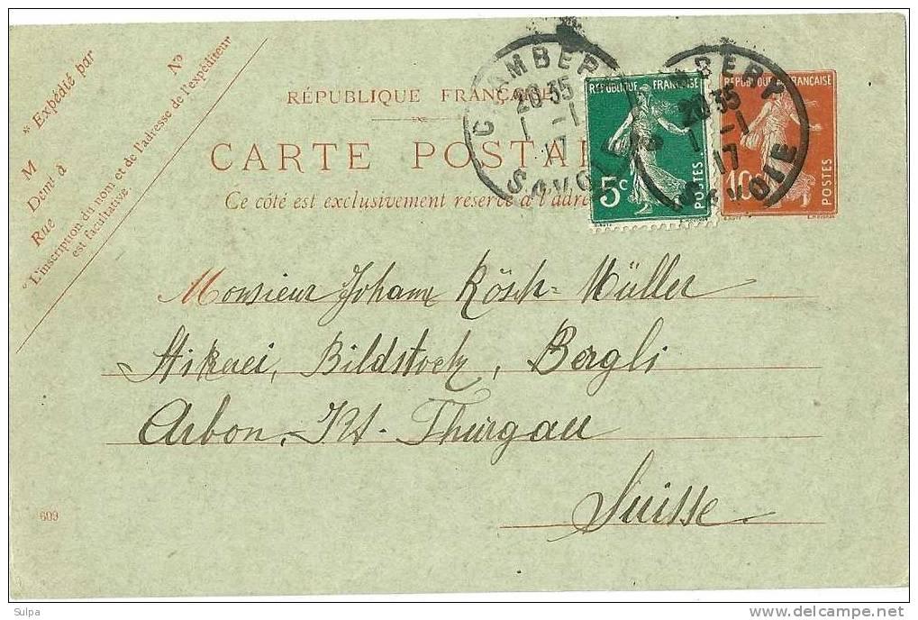 Carte Postale , Affr. Complémentaire - Entiers Postaux
