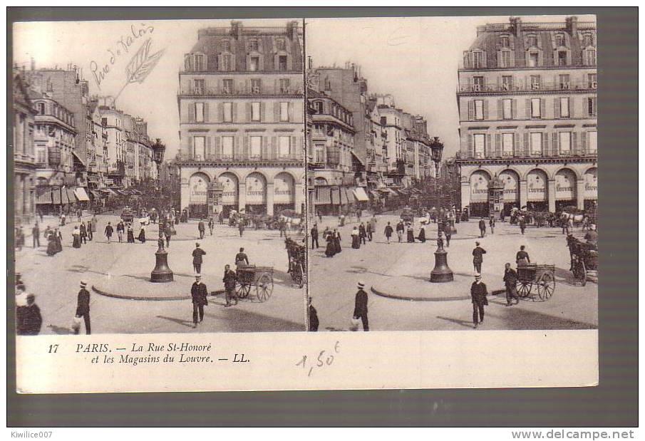 CPA ANCIENNE STÉRÉOSCOPIQUE- FRANCE- PARIS : Rue  St Honoré - Stereoscope Cards
