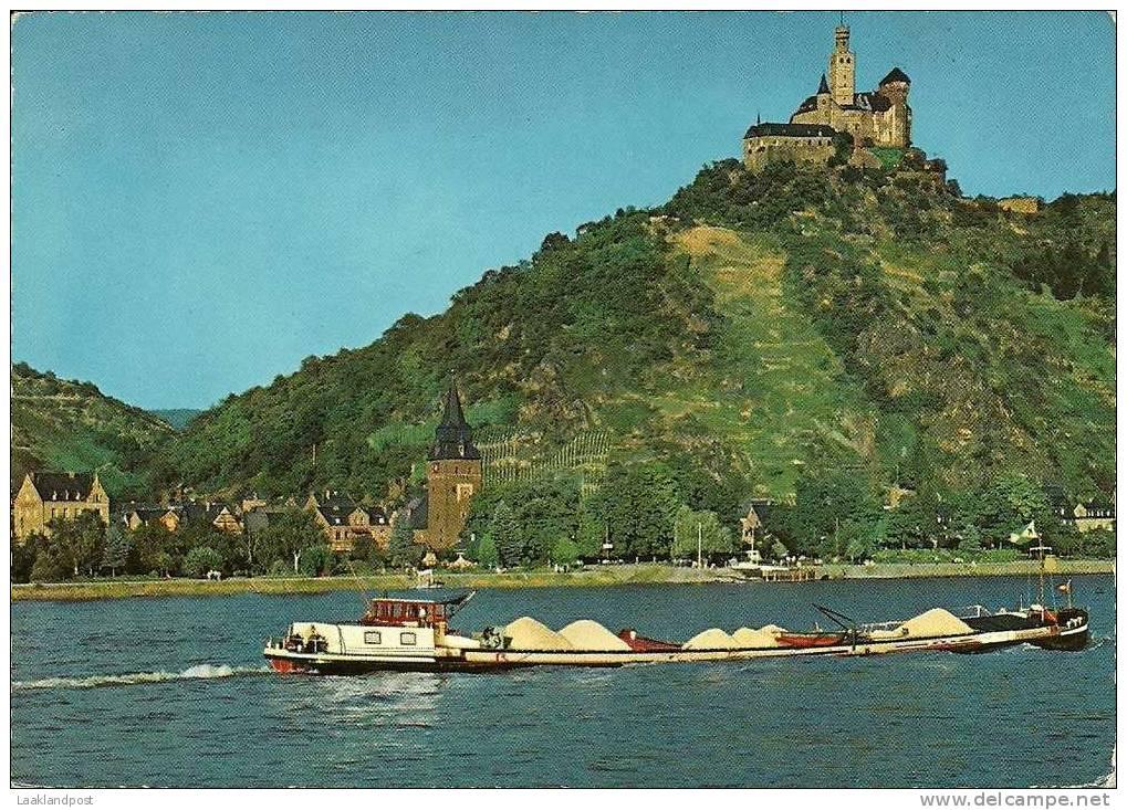 Rhine, Marksburg, Ship Castle River COLOUR POSTCARD - Koopvaardij