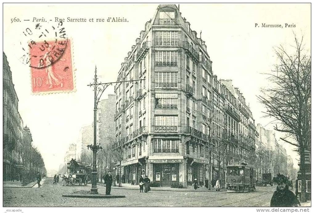 PARIS (75014) - LA RUE SARETTE ET LA RUE D ALESIA -    MX-453 - Arrondissement: 14