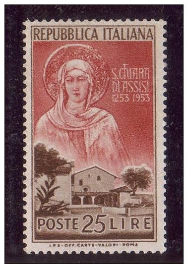 ITALY  1953  Saint Clara Of Assisi , Y&T  656 , Cv 1.50 E , ** MNH ,V V F - 6. 1946-.. Repubblica