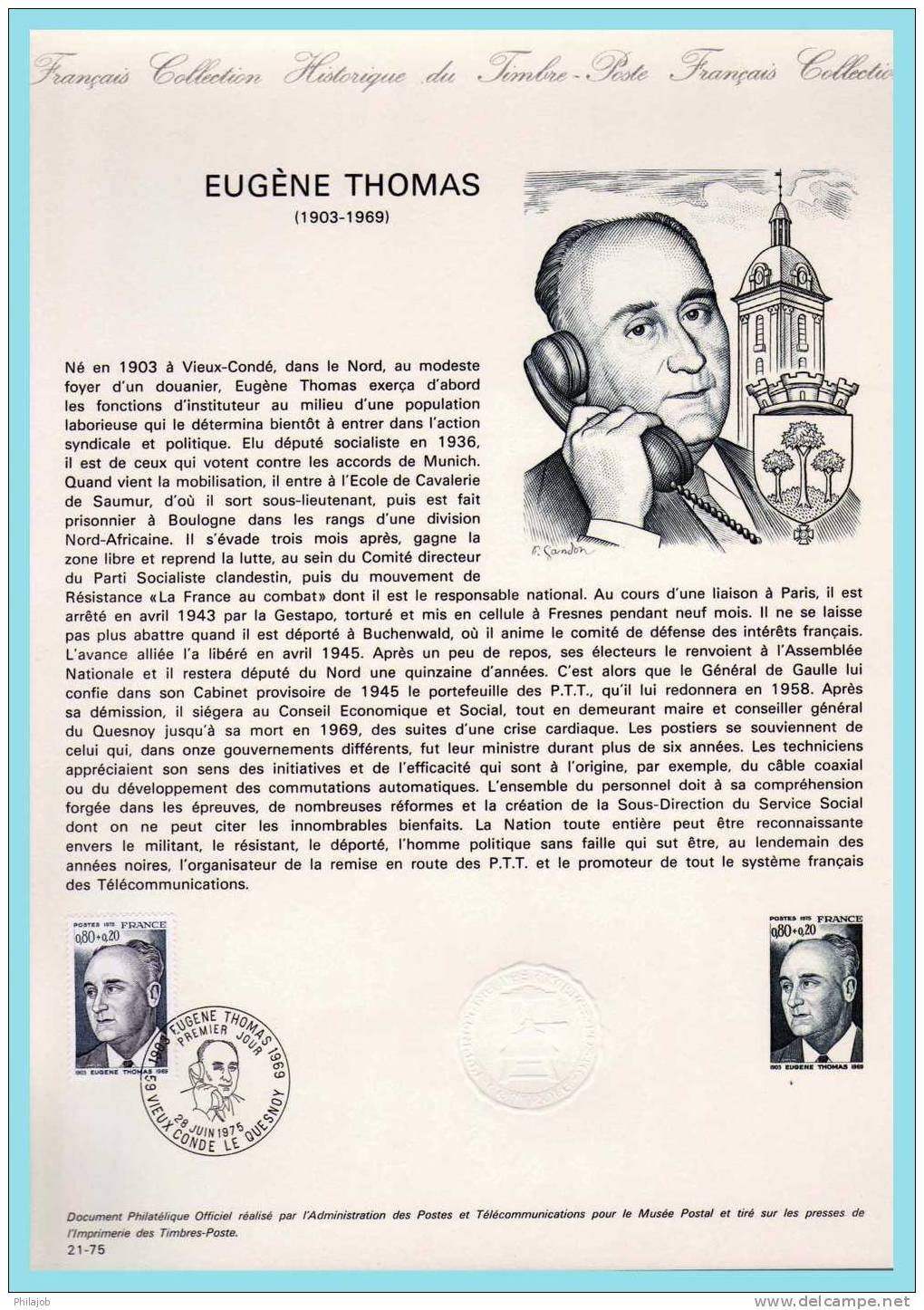 "DPO 1975 Document Officiel 21-75 "" EUGENE THOMAS "" N° YT 1827 + Prix Dégressif - Documents Of Postal Services"
