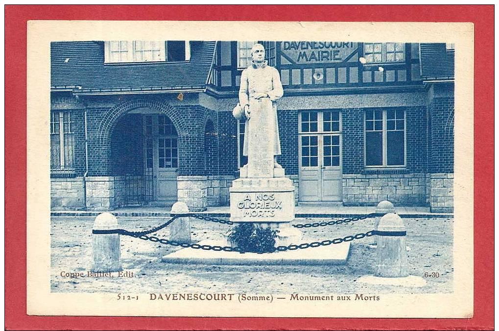 80  DAVENESCOURT (Somme) - Monument Aux Morts - Non Classés