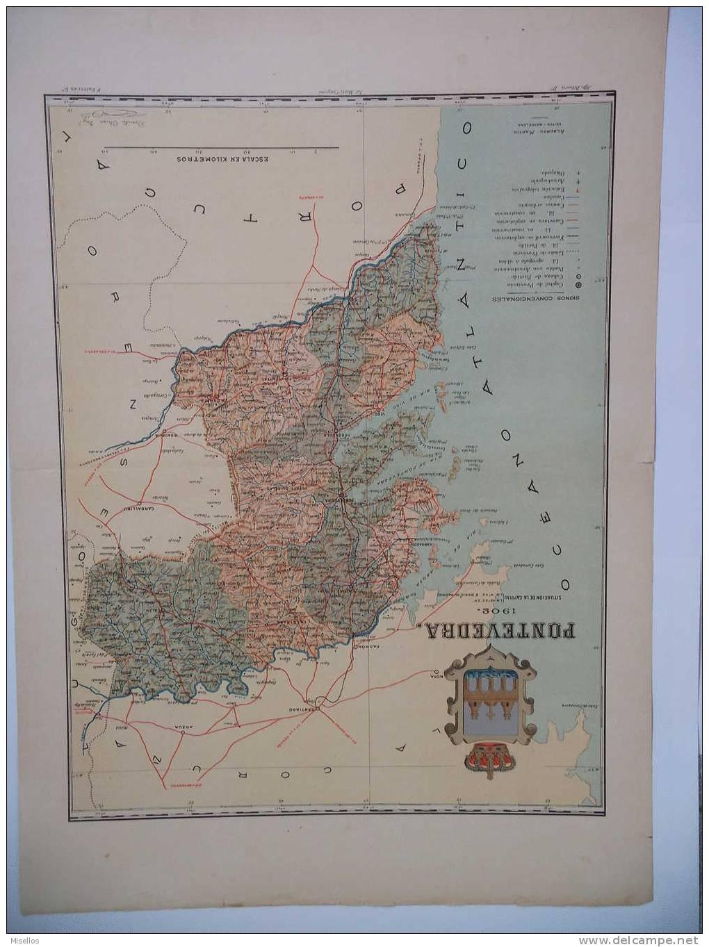 Lote Mapas Galicia: La Coruña + Lugo + Orense Y Pontevedra - Mapas Geográficas