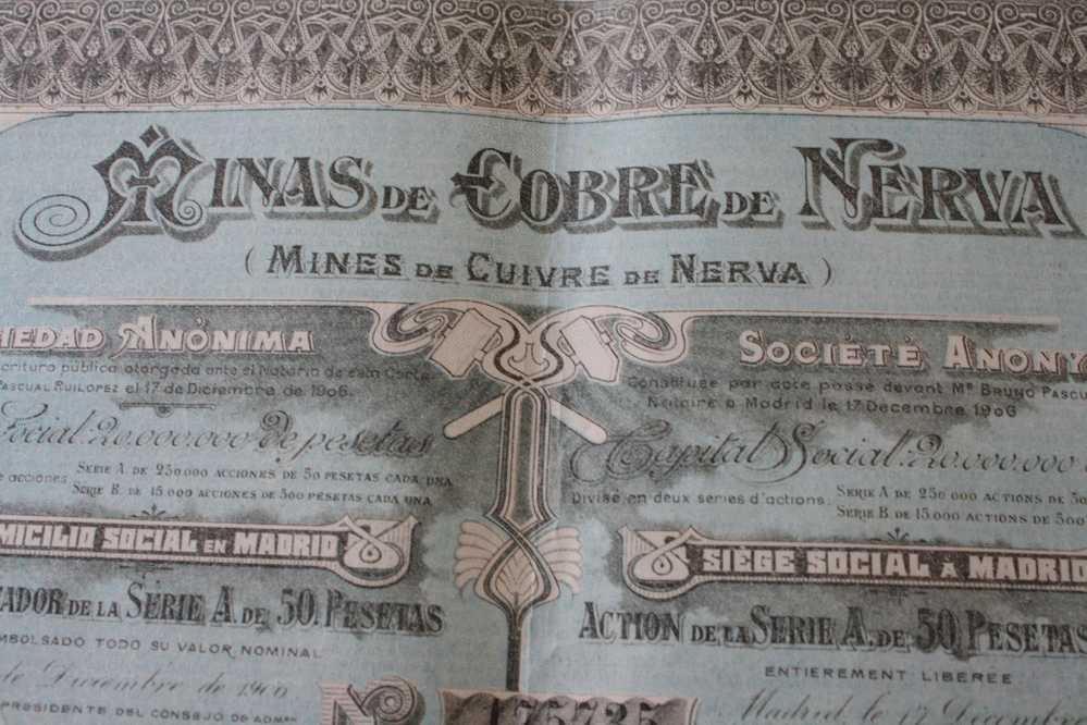 MINES DE CUIVRE MINAS DE COBRAS  DE NERVA  SIEGE SOCIAL à MADRID ESPAGNE  => ACTION & TITRE  >> SCRIPOPHILIE - Mineral