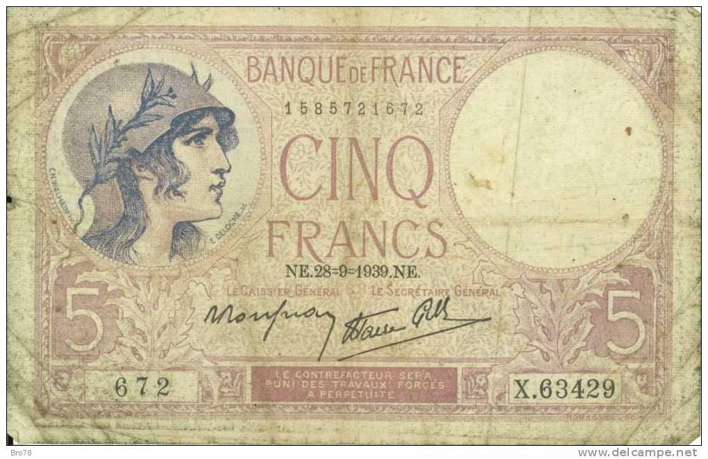 CINQ FRANCS VIOLET - NE.28=9=1939.NE. - 672 - X.63429 - 1871-1952 Antiguos Francos Circulantes En El XX Siglo
