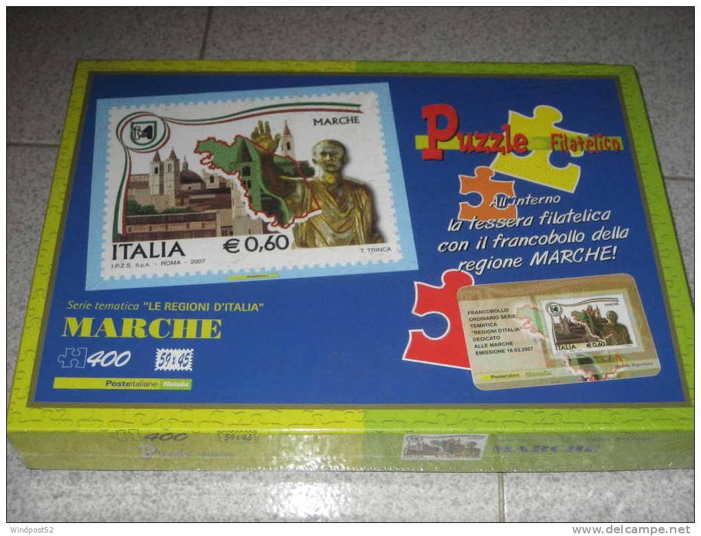 ITALIA PUZZLE FILATELICO LE REGIONI ITALIANE MARCHE CON TESSERA FILATELICA - Puzzles