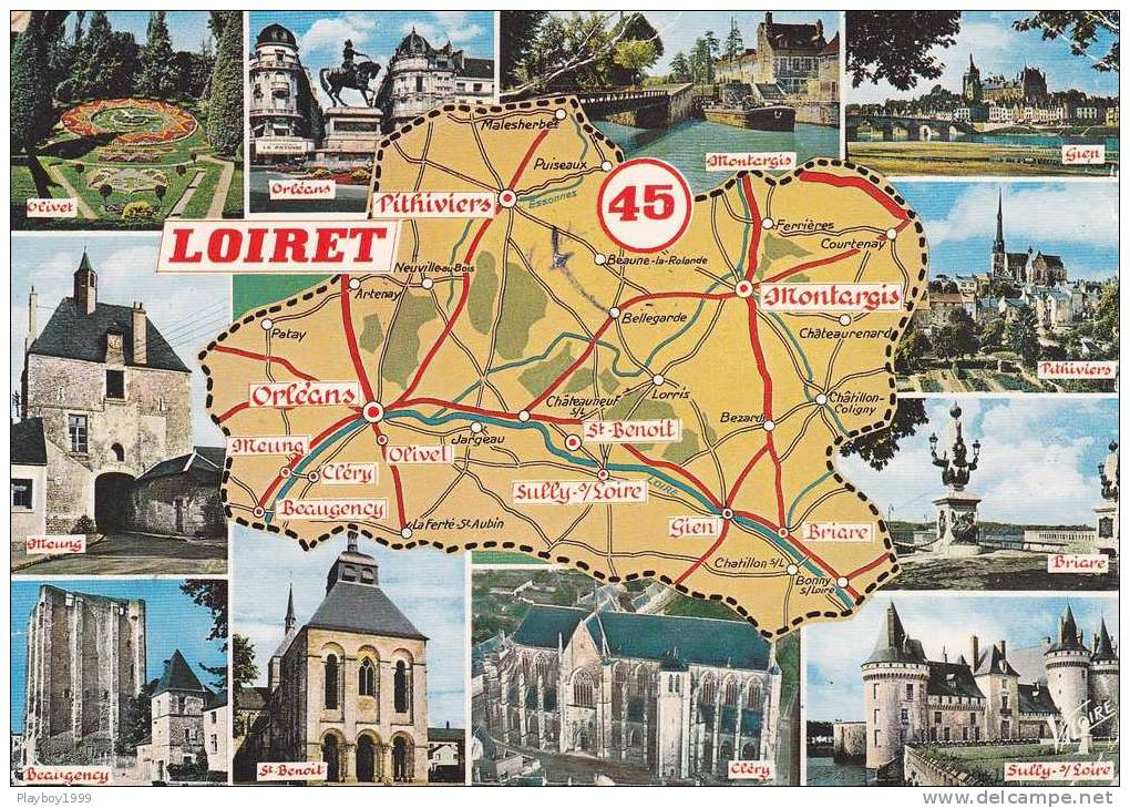 CPSM CARTE GEOGRAPHIQUE   ECRITE  LE LOIRET 45 2èmeCHOIX - Mapas