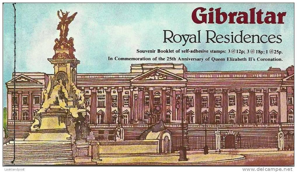 Gibraltar Souvenir Booklet Michel Nr. MH2 Royal Residences Unused - Koniklijke Families