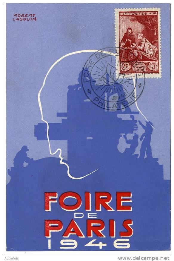FOIRE DE PARIS 1946  -  BELLE ILLUSTRATION DE ROBERT LAQUIN  -  CACHET COMITE DE LA FOIRE - Fiere