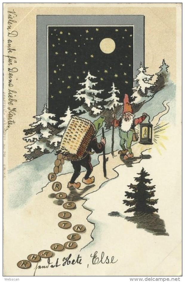 AK Neujahr Zwerg Laterne Goldmünzen Mond Sterne 1902 #09 - Año Nuevo