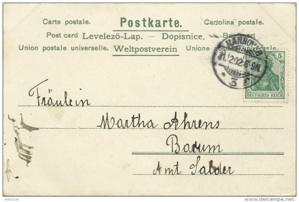 AK Neujahr Zwerg Laterne Goldmünzen Mond Sterne 1902 #09 - Neujahr