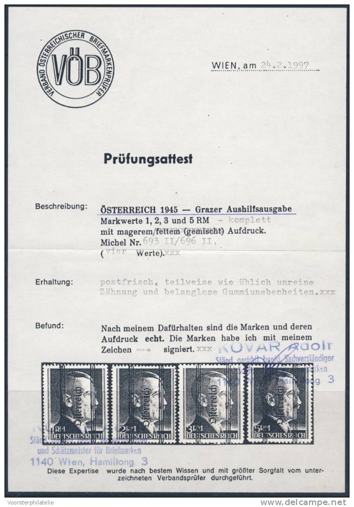 (BOX O) ÖSTERREICH AUSTRIA 1945  GRAZER AUSHILFE - ANK  693 -696 II** - MNH MIT ZERTIFIKAAT - 1945-.... 2de Republiek